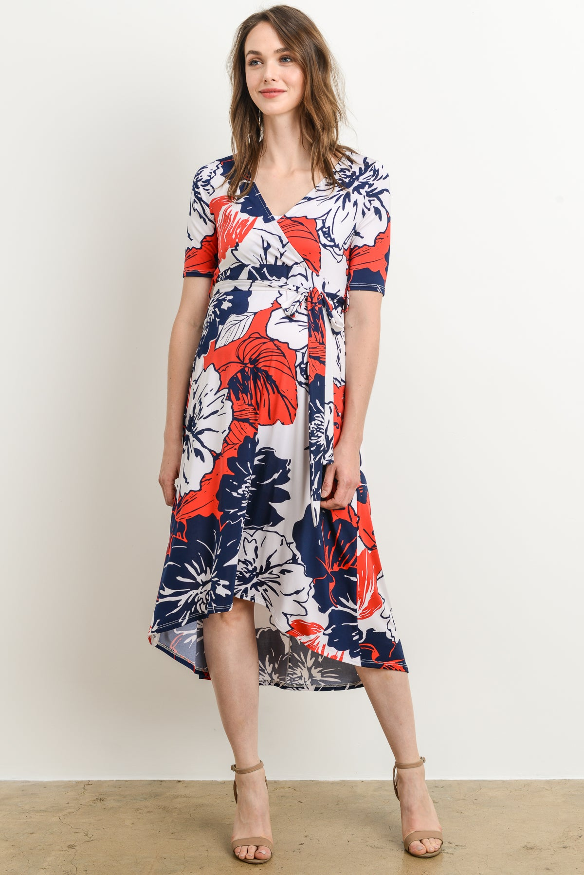 Floral High Low Maternity/Nursing Dress by Hello Miz
