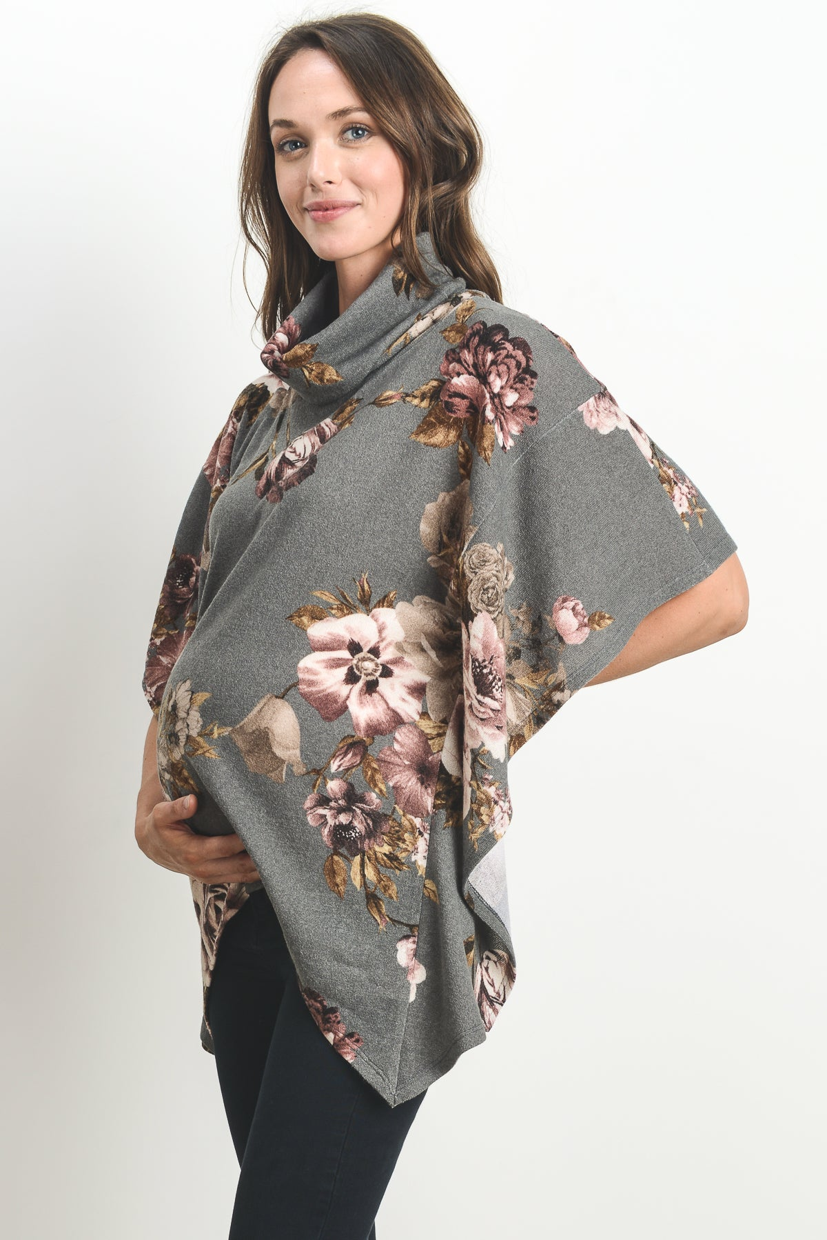 Floral Maternity & Nursing Cover Up Poncho Sweater