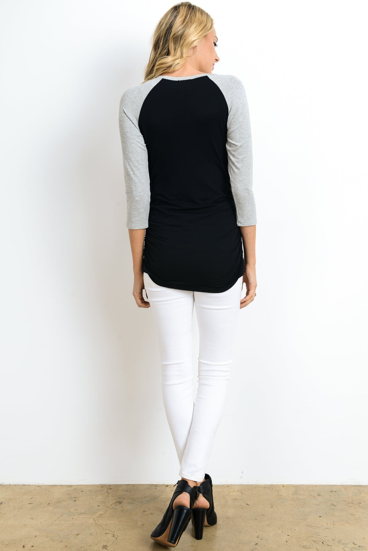 Baseball Crew Neck Raglan Maternity Top