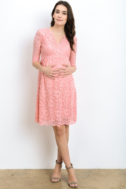 Lace Scallop Cross Over Maternity Dress
