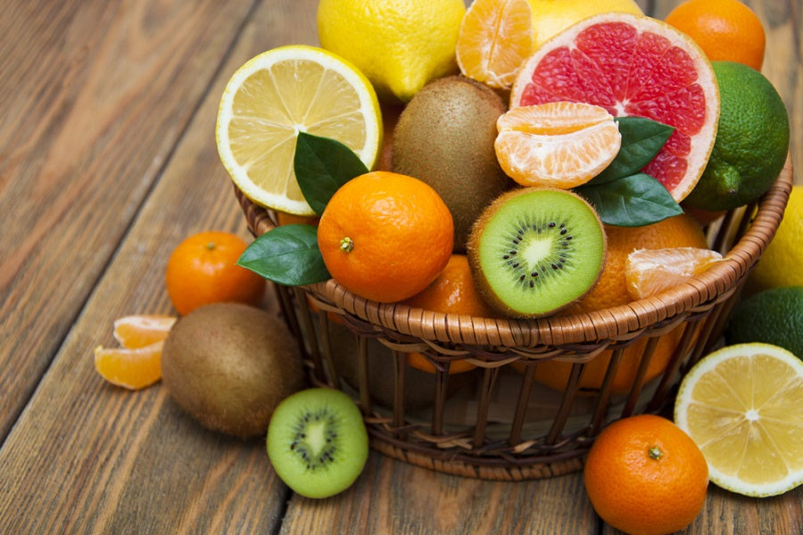 Citrus Fruit Basket on a Wooden Table