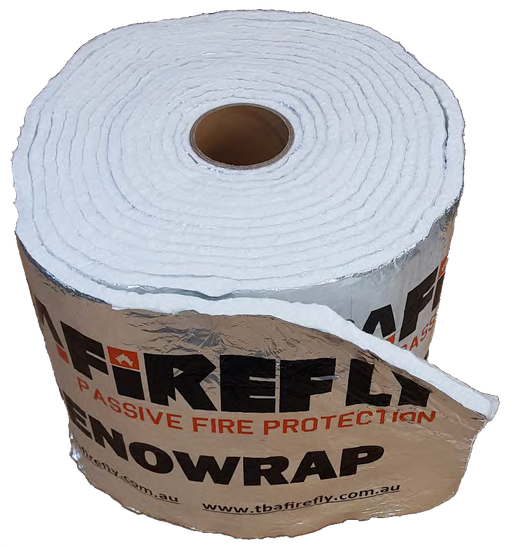 TBA Firefly Penowrap - 10mtr Long x 300mm Wide Roll used in conjunction with other TBA Firefly products to maintain the FRL of various walls, floors and ceilings where they are penetrated by either structural or service penetrations.
