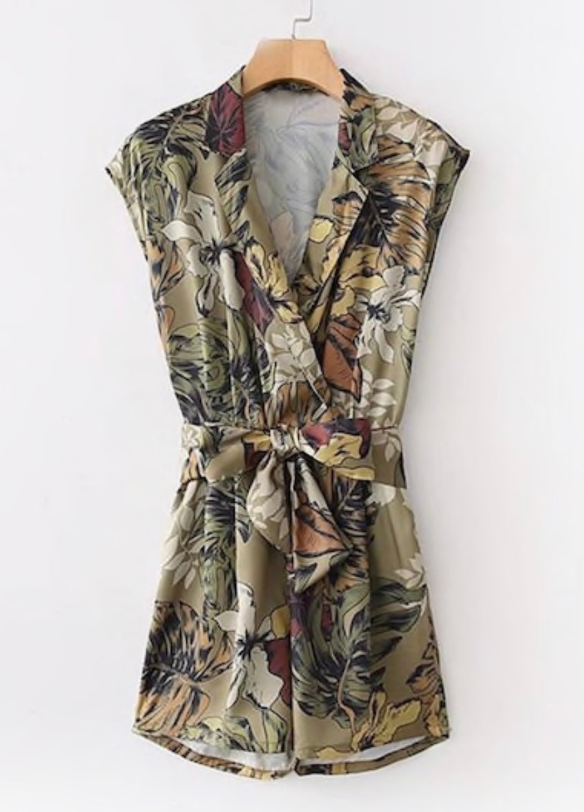 green foliage print deep v neck romper