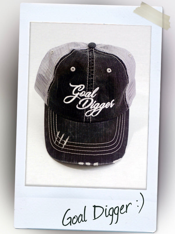 gold digger logo  trucker hat in black denim gray back