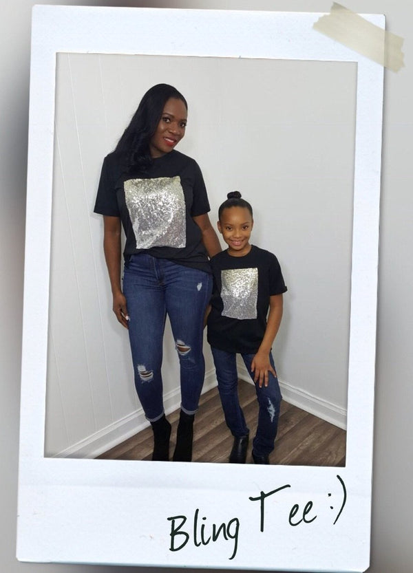 kids sequined black tee mommy and me