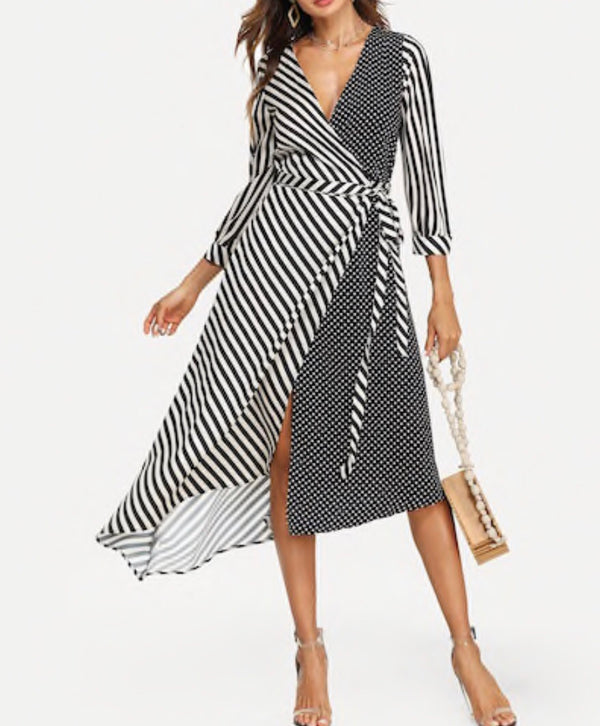 Asymmetrical Mixed Print dots and stripes Surplice Wrap Dress