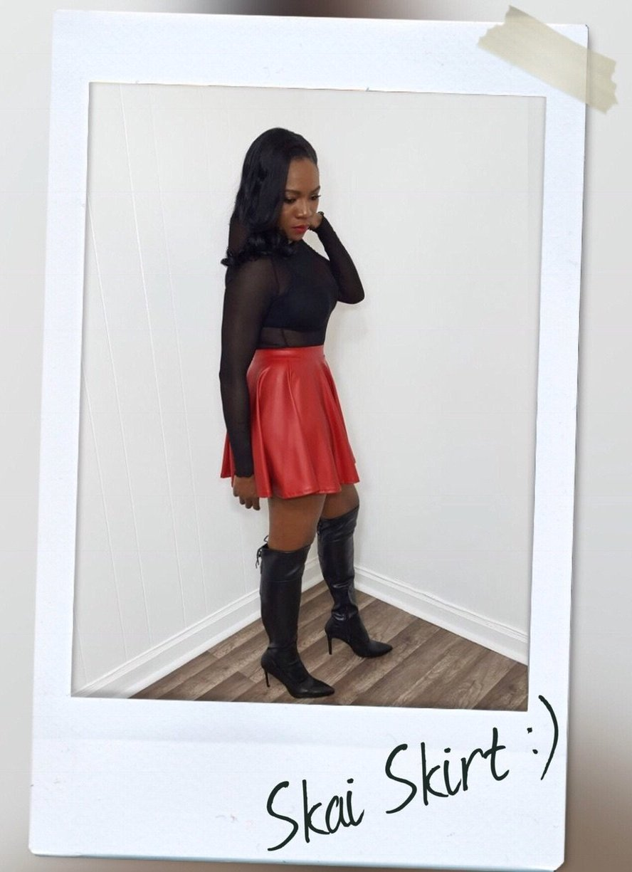 Red PU Skater skirt