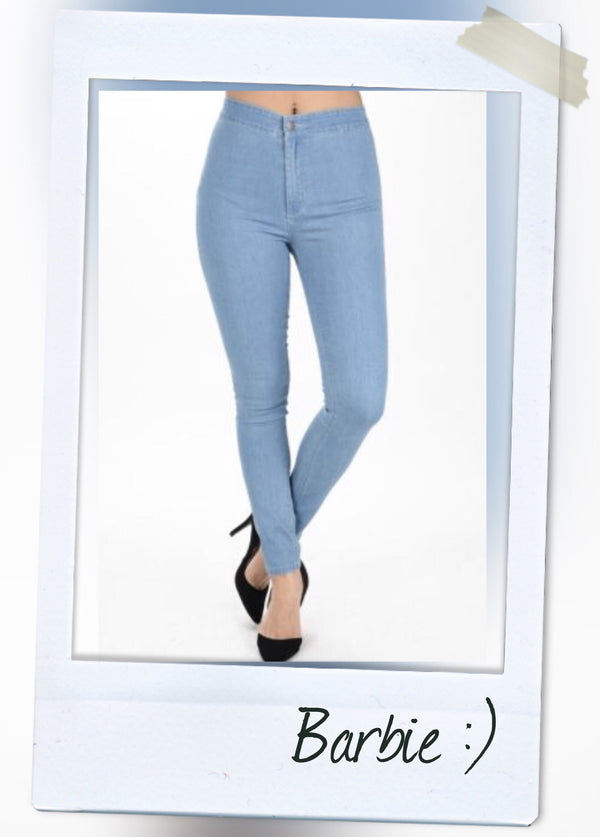 high waist blue denim pants with back pockets front view