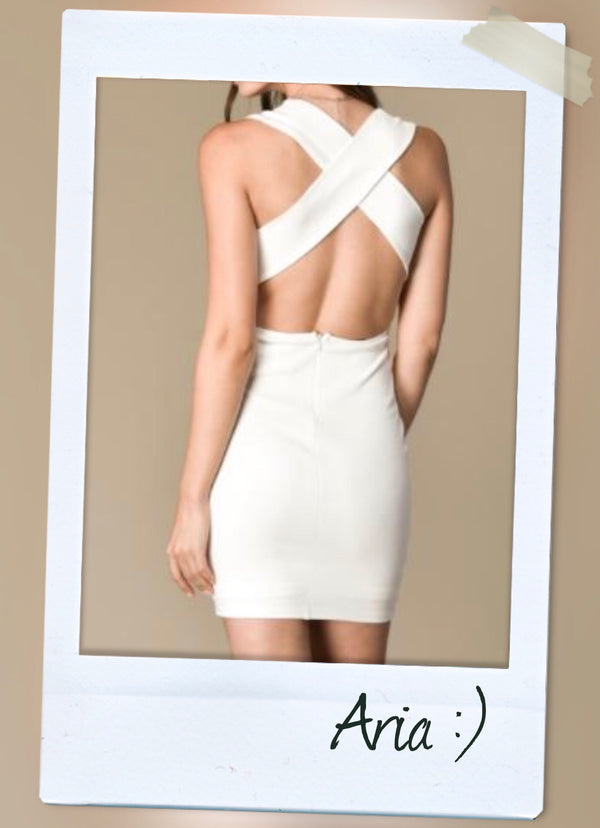 criss cross back bodycon stretchy dress in white back view