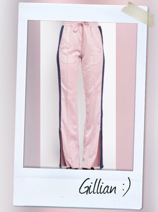 pink satin jogger pants with blue trim details pants side zippers