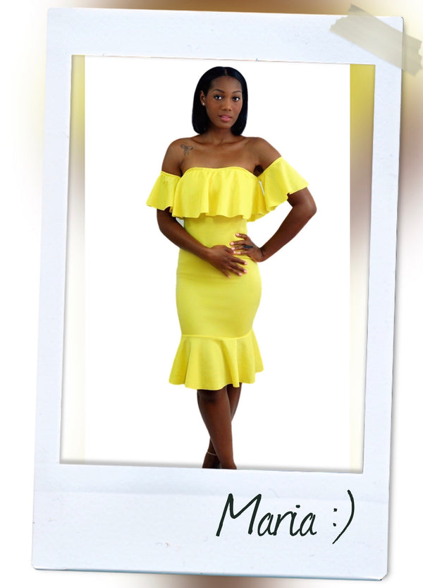 FITTED OFF THE SHOULDER YELLOW TRUMPET DRESS