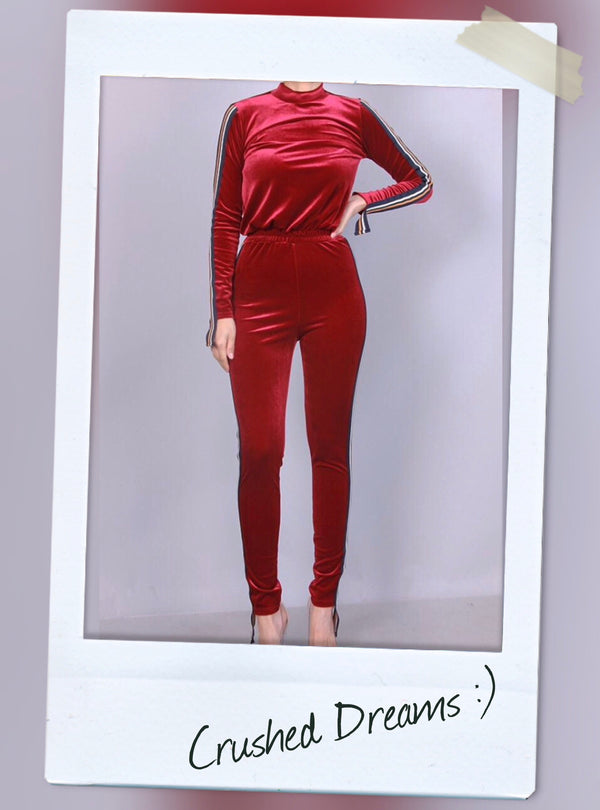 RED VELVET JUMPSUIT WITH MOCK NECK AND SIDE STRIPE DETAIL
