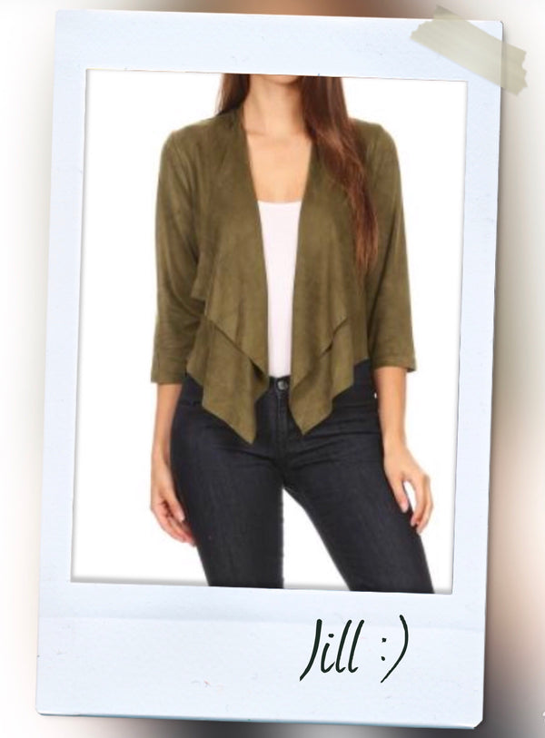 Olive Green Suede Blazer With Relaxed Front Oversized Draped Lapels