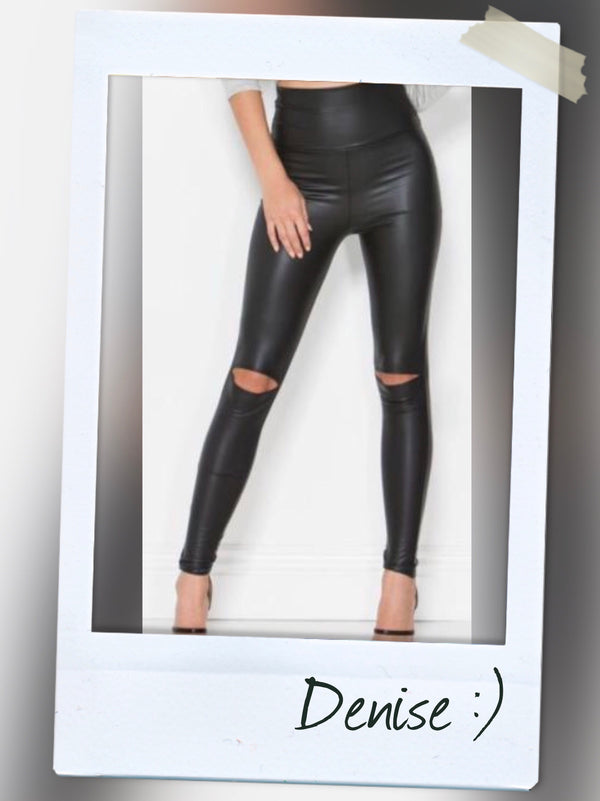 BLACK HIGH WAIST CUTOUT KNEE FAUX LEATHER LEGGING