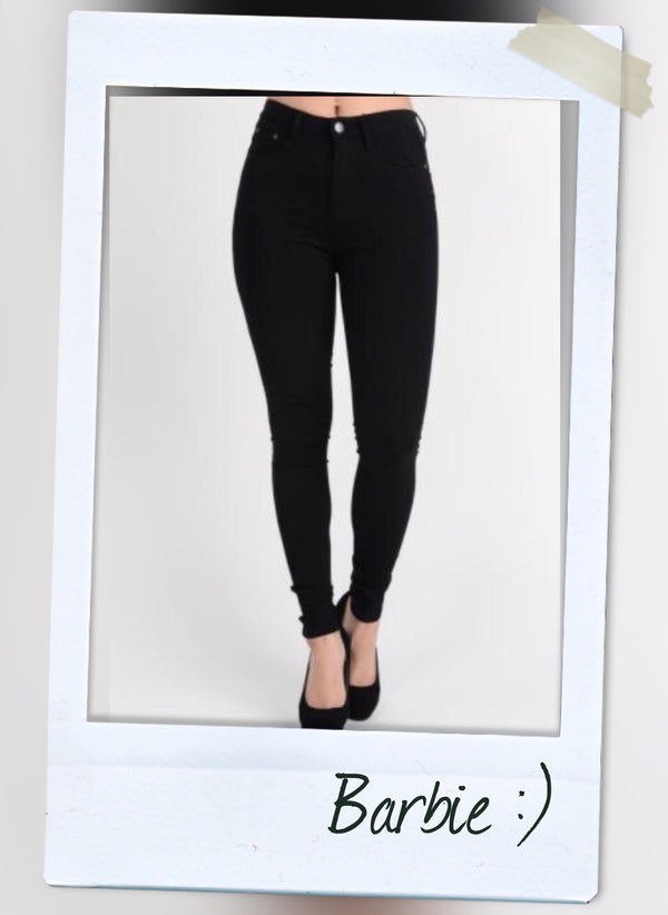 black high waist strecth pants