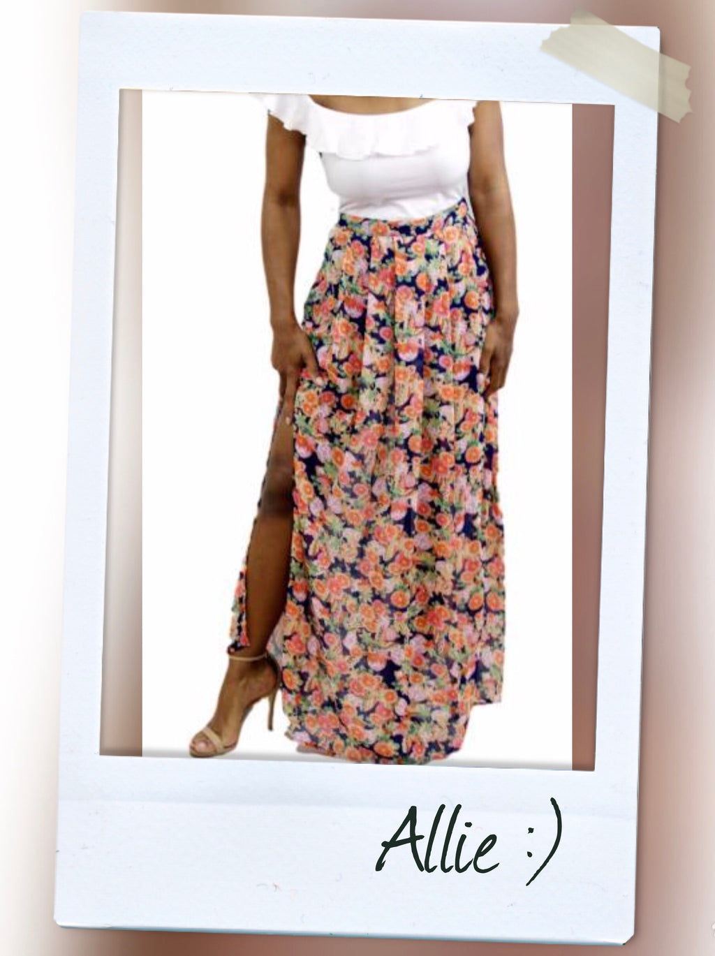Highwait floral detail sheer maxi skirt with thigh high splits