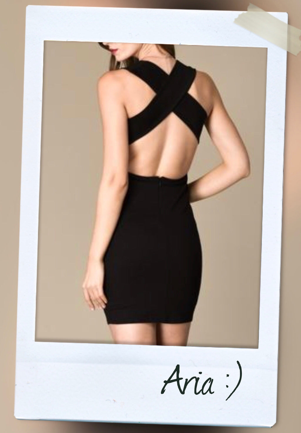 criss cross back bodycon stretchy dress in black