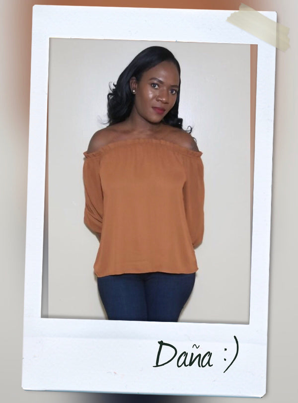 Brown OFF THE SHOULDER LIGHT WEIGHT TOP WITH THREE QUARTER SLEEVES