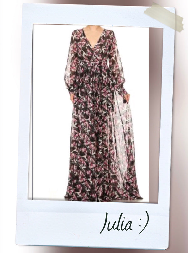 Butterflies printed chiffon, wrapped bodice maxi dress