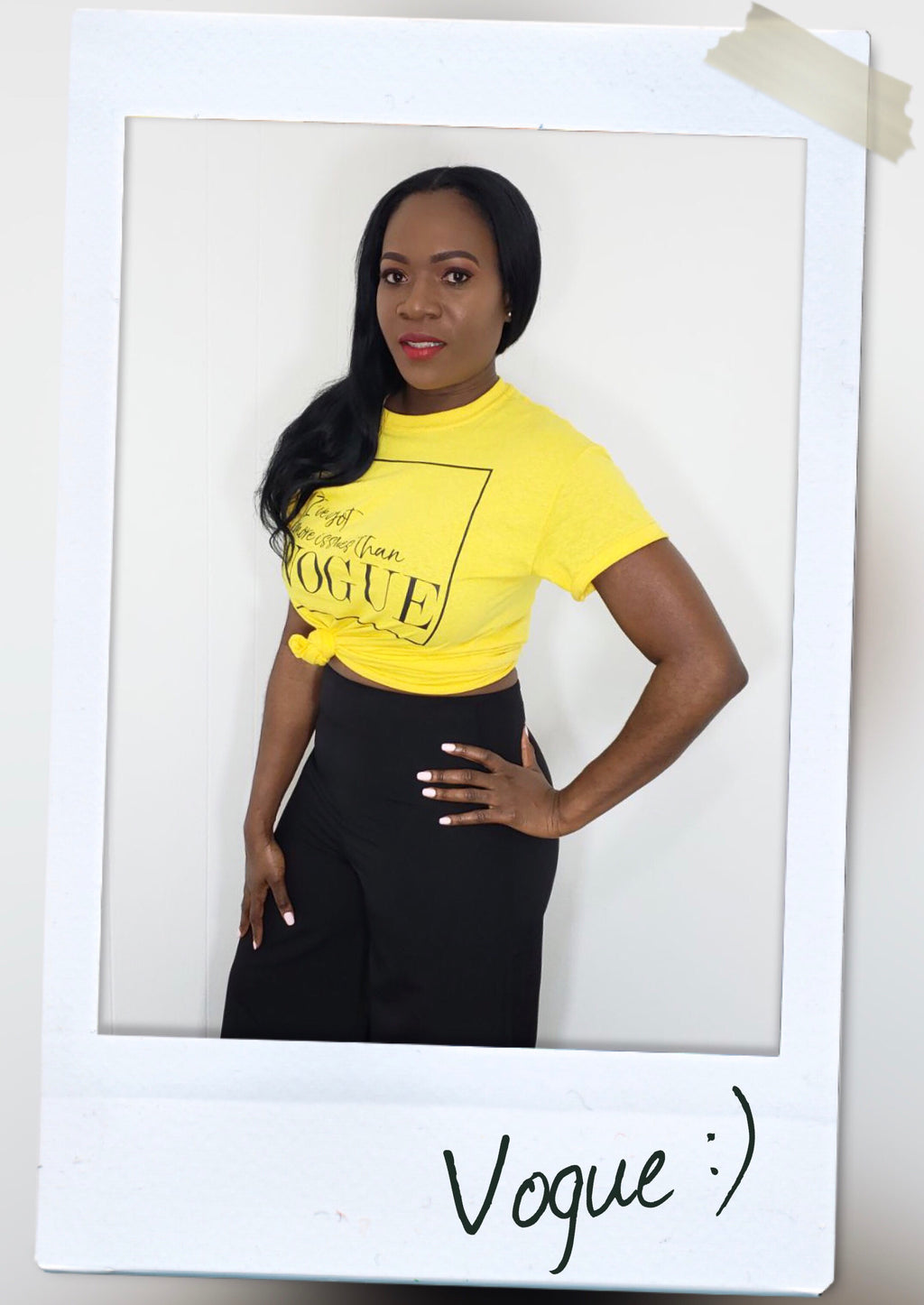simple round neck graphic tee in yellow front view