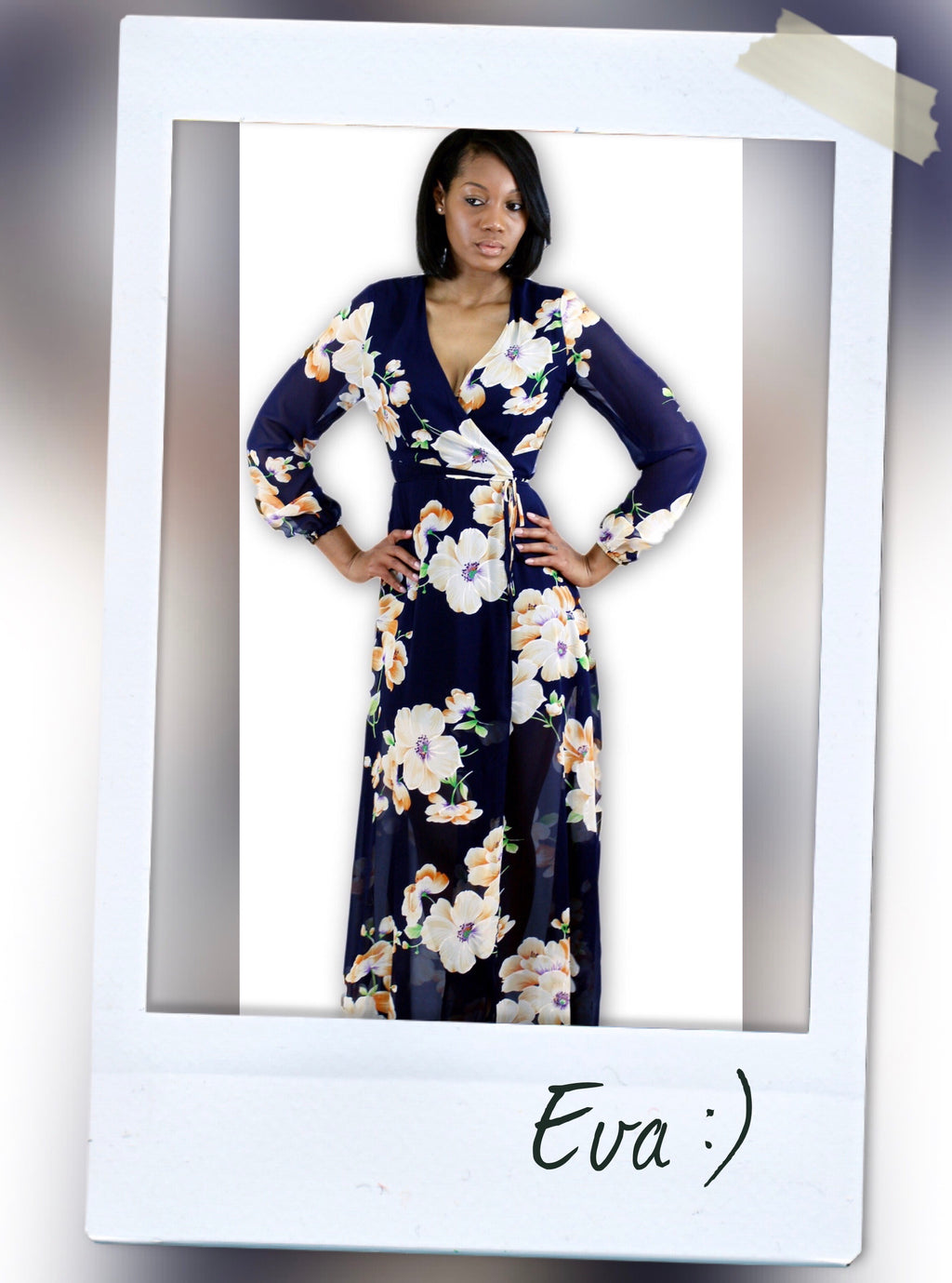 navy blue FLORAL detail  WRAP MAXI DRESS