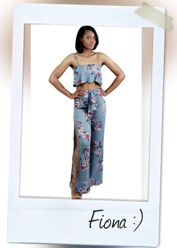 Gray FLORAL  detail RUFFLE TOP PANTS SET WITH SIDE SLIT DETAIL