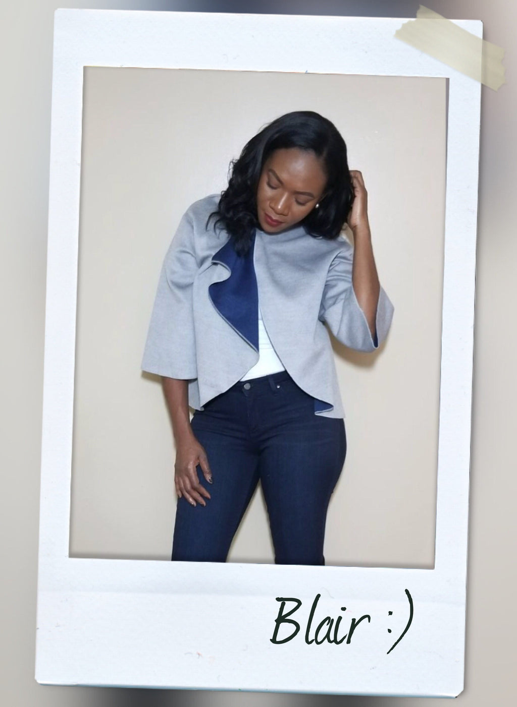 bell sleeve knotted closure cropped lightweight jacket with navy blue detail front view