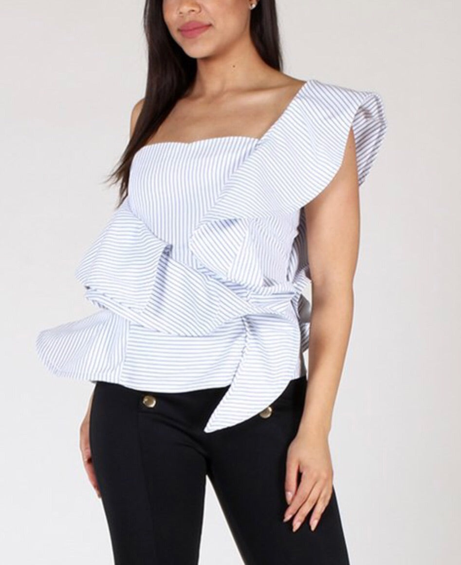 73eef4e7887559 ... ruffled one sleeve off the shoulder striped top close up ...