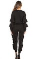 BLACK RUFFLE DETAIL DRESSY SWEAT SUIT BACK VIEW