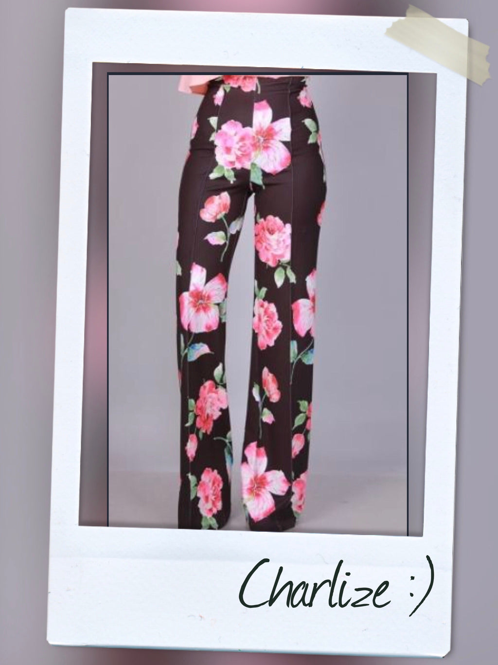 HIGHWAIST WIDE LEG PANTS WITH FLORAL DETAIL