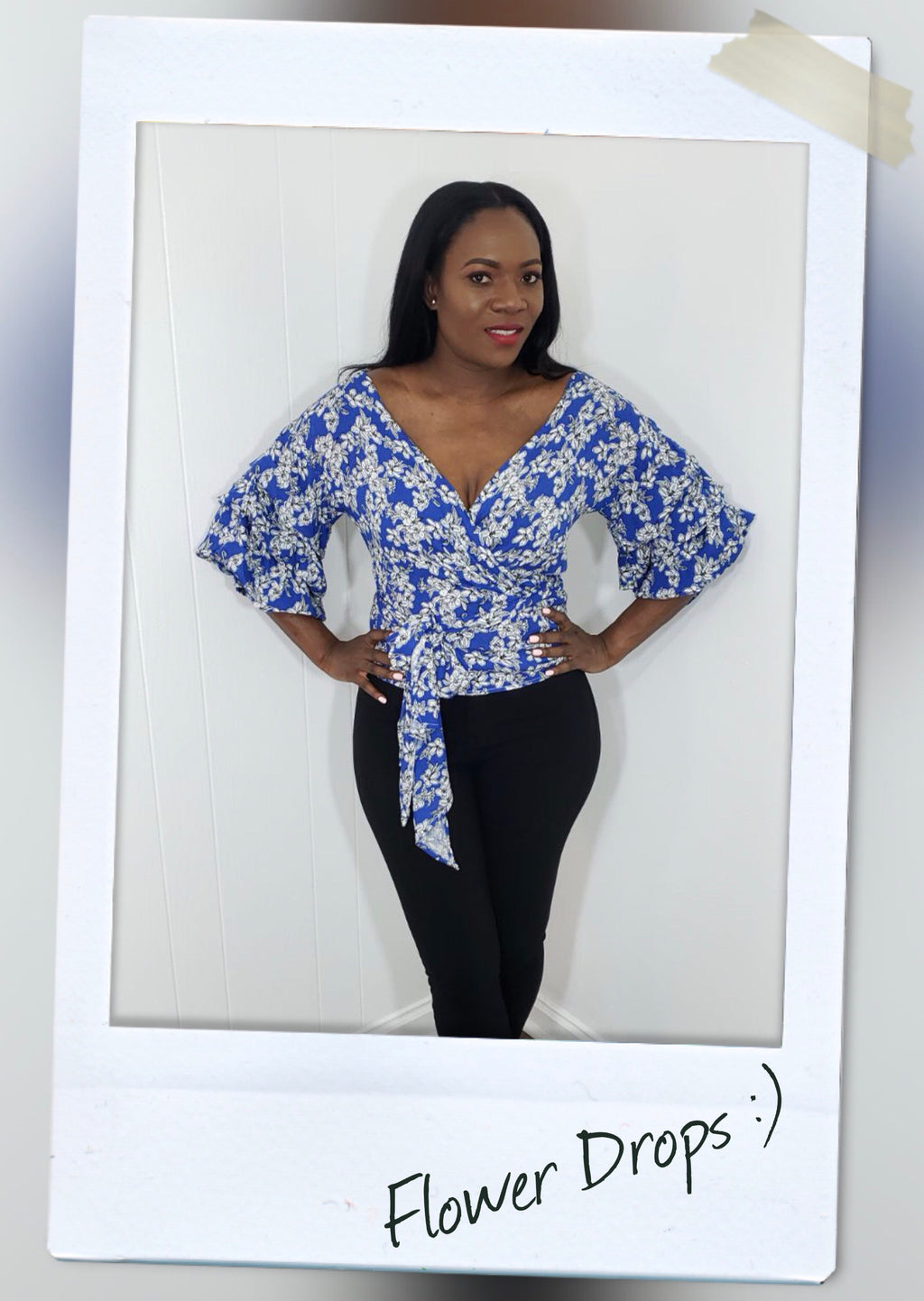 royal blue flower detail wrap top with statement sleeves and waist tie