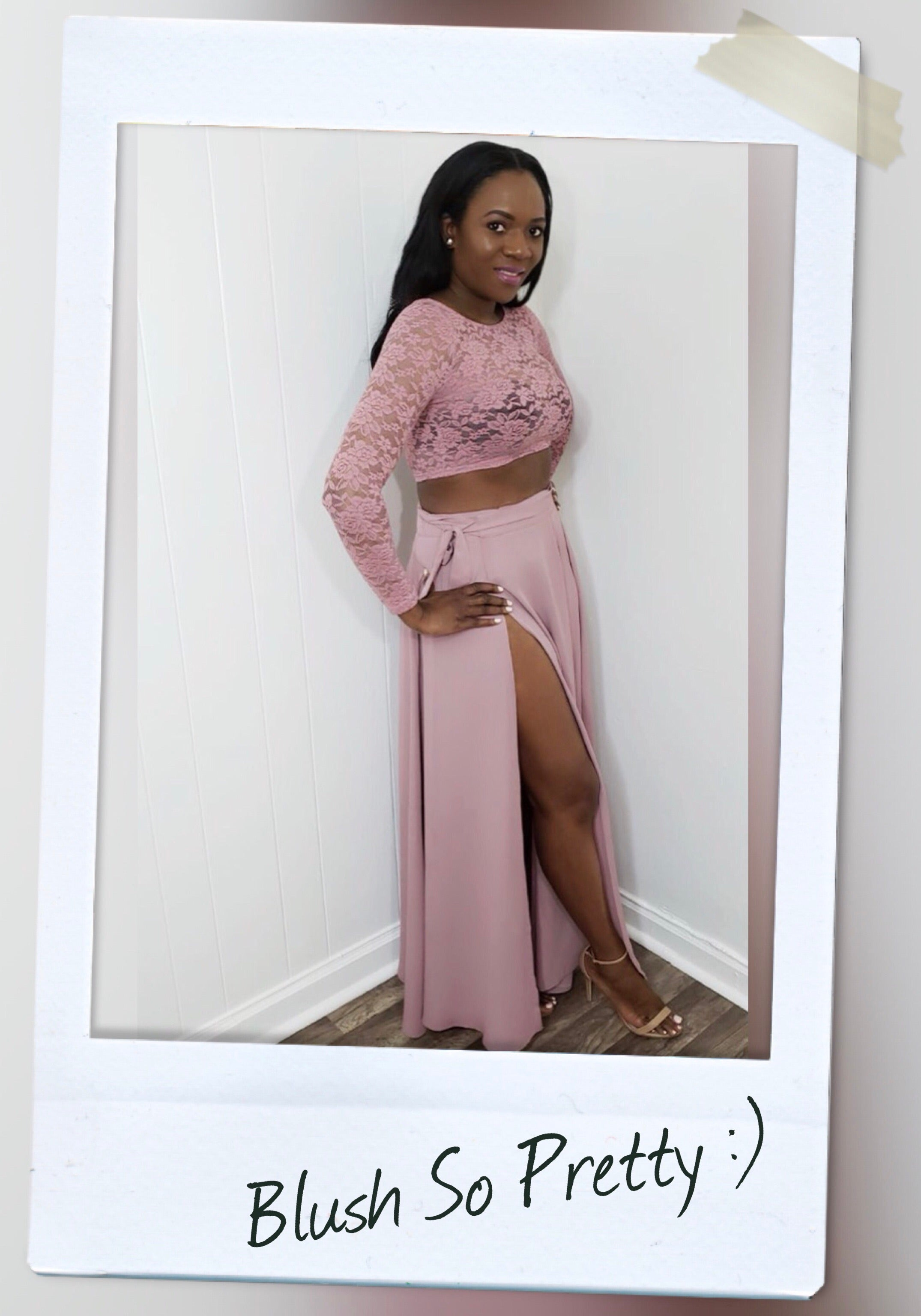 bae906ca6be blush skirt set with lace crop top and maxi wrap skirt