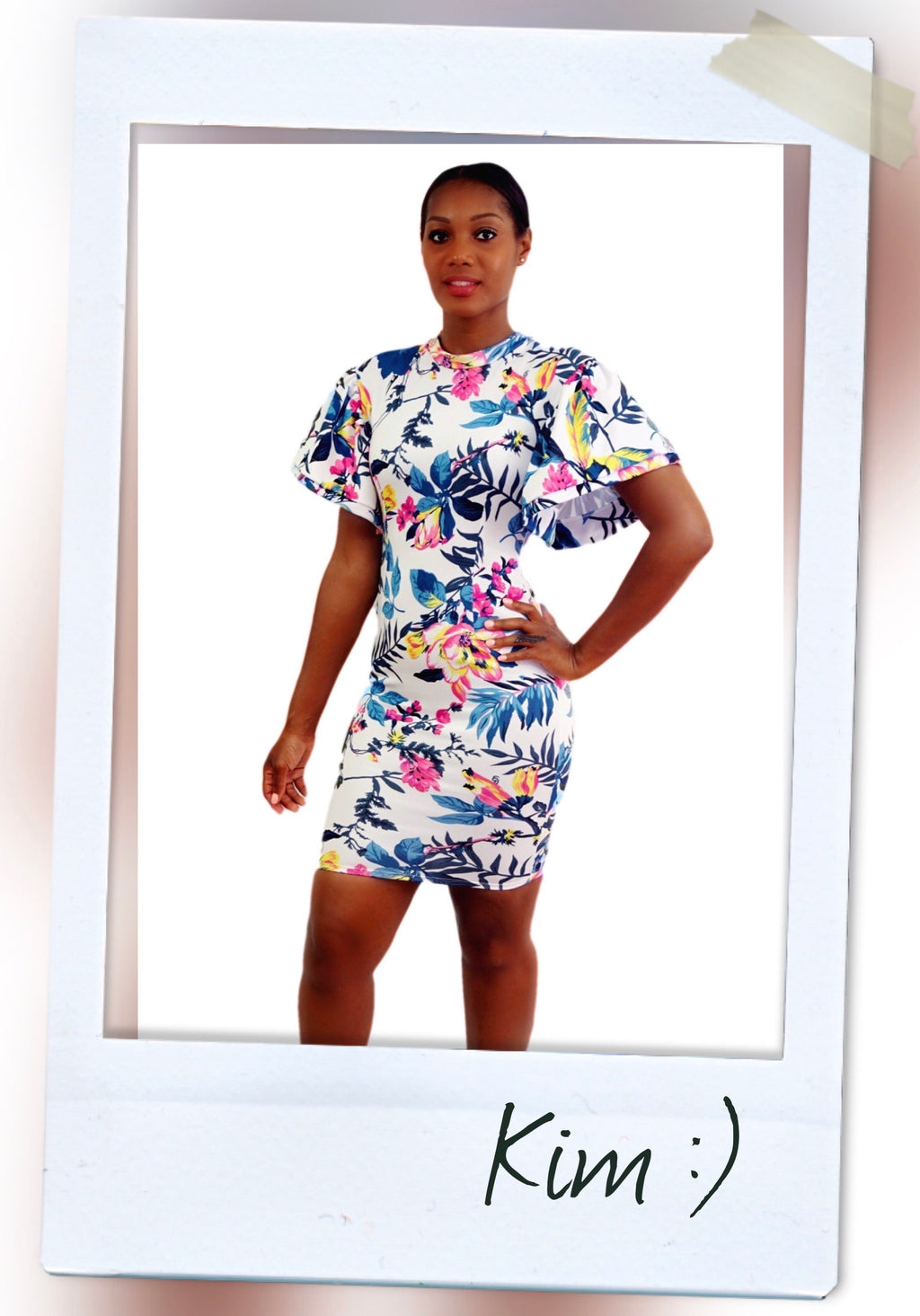 MINI FLORAL BODYCON DRESS WITH BELL STATEMENT SLEEVES