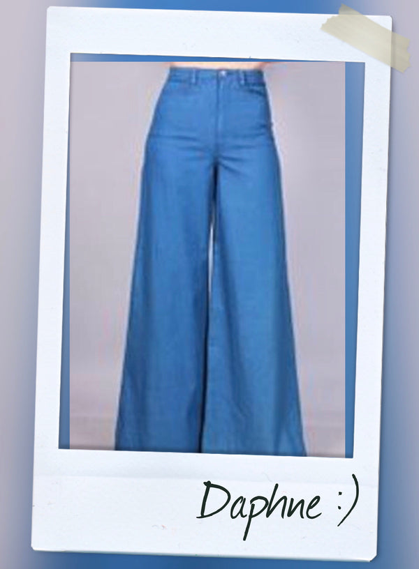 DENIM HIGH WAIST WIDE LEG  PANTS