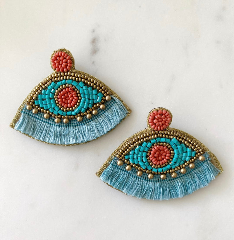 BEADED TASSEL EVIL EYE EARRINGS