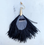 FEATHER FAN  TASSEL EARRINGS