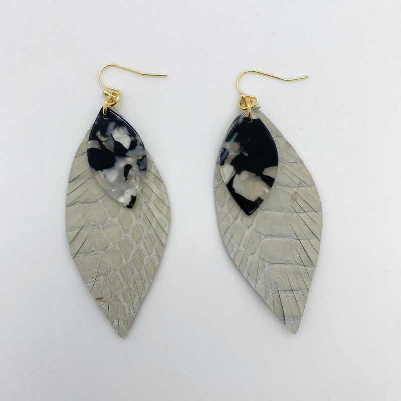 LEAF SNAKESKIN EARRINGS