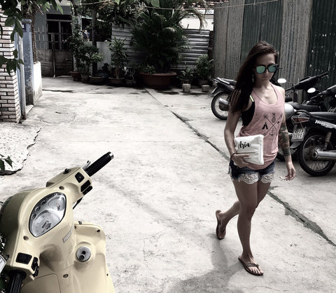 Erin Reynel with her Aria kit in Nha Trang, Vietnam