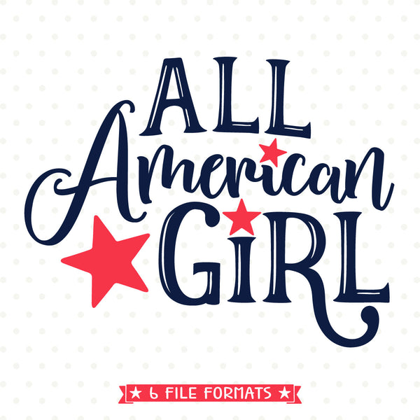 Patriotic svg file for girls