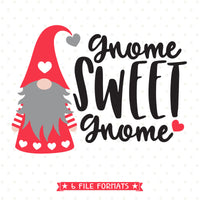 Christmas Gnome Svg.Gnome Sweet Gnome Svg File For Valentines Day