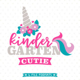 Girls Kindergarten Unicorn SVG