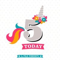 5th Birthday Unicorn cut file designed by Queen SVG Bee
