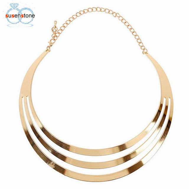 SUSENSTONE Women Leopard Simple Geometry Chain Necklace Earring Set Jewelry - Goodies Online Store