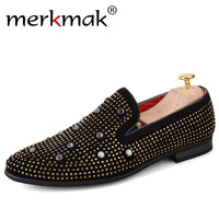 Merkmak New Handmade Luxury Brand Loafers Rhinestone Men Suede Loafers Party Wedding Men Dress Shoes Noble Elegant Mens Footwear - Goodies Online Store