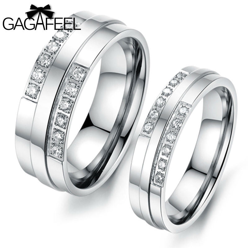New Fashion Finger Rings Titanium Steel Women Men Couples Lovers Austria Crystal Vintage Fine Jewelry Valentines Day Gift OR426 - Goodies Online Store