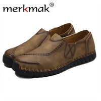 Merkmak 2017 Shoes Men's Genuine Leather Fashion Oxford Loafer Casual Men Slip on Flats Breathable Soft Moccasins Driving Shoes - Goodies Online Store