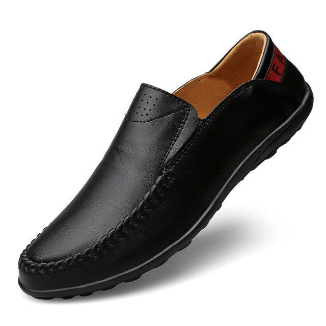 Merkmak Big Size 37-47 Men Loafers Genuine Leather Italian Designer Casual Men Driving Shoes Soft Trample Heel Mocassin Homme - Goodies Online Store