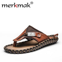 Merkmak Brand Genuine Leather Summer Men Slippers Beach Sandals Comfort Men Casual Shoes Fashion Men Flip Flops Drop Shipping - Goodies Online Store