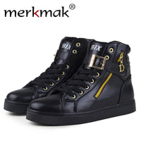 Merkmak Luxury Men Autumn Boots Fashion Hig Top New Design Shoes Men Ankle Zipper Breathable Shoes Zapatillas Deportivas Hombre - Goodies Online Store
