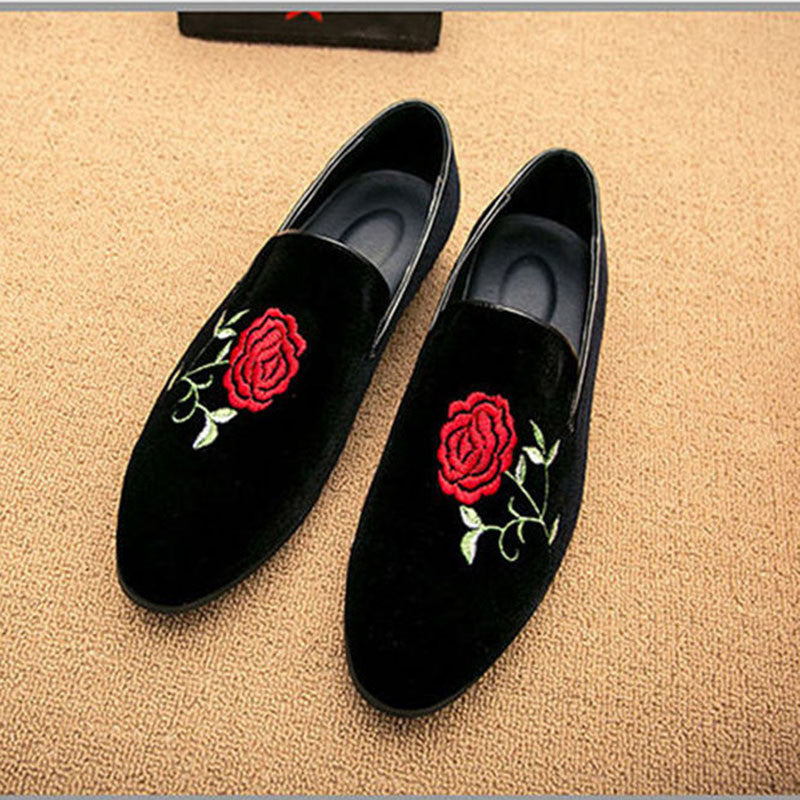 Merkmak New Fashion Men Party and Wedding Handmade Loafers Men Shoes with Rose Flower Embroidery Men Dress Shoe Men's Flats - Goodies Online Store